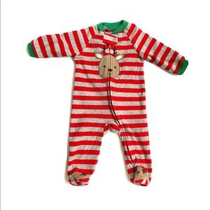 Carter's holiday Christmas reindeer Footies onesie